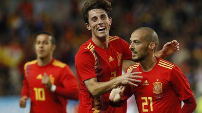 Silva celebra uno de sus goles.