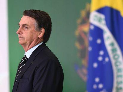 El presidente Bolsonaro durante la toma de posesión de sus ministros este miércoles en Brasilia.