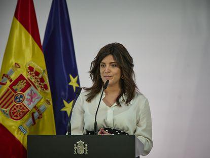 Ana Iris Simón, durante la presentación del plan Pueblos con Futuro, en La Moncloa.
