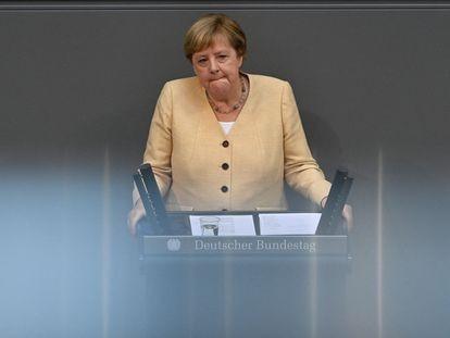 La canciller Angela Merkel durante su intervención en el Bundestag, este martes.
