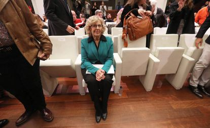 Manuela Carmena, alcaldesa de Madrid, este viernes en la presentación de la exposición urbana 'Meninas Madrid Gallery'.