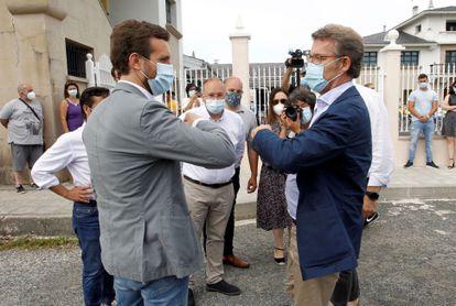 Feijóo y Casado en un mitin en As Pontes (A Coruña), el pasado 4 de julio.