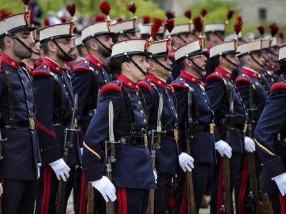 Militares en la reunión bienal del Capítulo de la Orden de San Hermenegildo, en San Lorenzo de El Escorial.