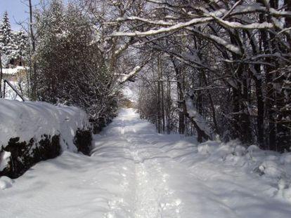 Una de las calles principales de Riolago de Babia (León), un día de nieve.