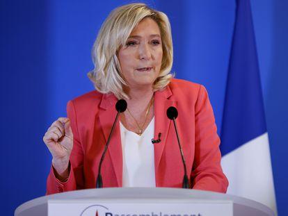 Marine Le Pen, en una conferencia de prensa en París.