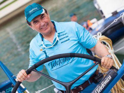 Pedro Campos, a bordo del Telefónica.