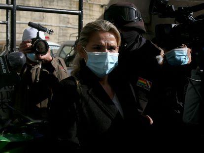 Jeanine Áñez, durante su arresto en La Paz en marzo de este año.