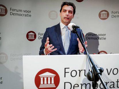 Thierry Baudet, líder de Foro para la Democracia, este miércoles durante un discurso.