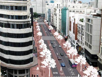 Proyecto del Ayuntamiento de Madrid para reformar la Gran Vía.