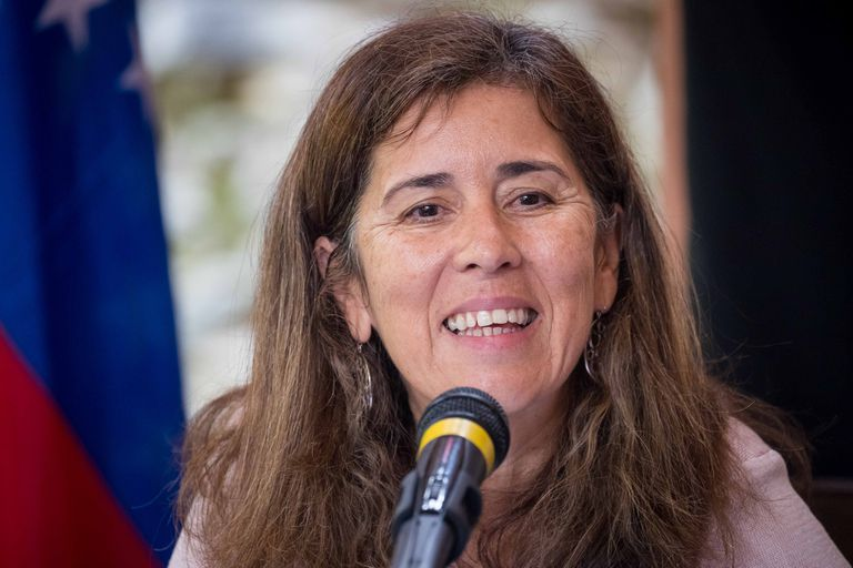 Isabel Brilhante, ambassador of the European Union in Venezuela, at a press conference in 2018.