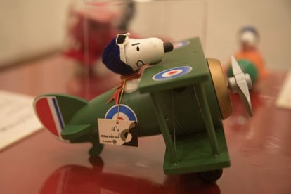 A Snoopy doll on her Sopwith Camel on display.