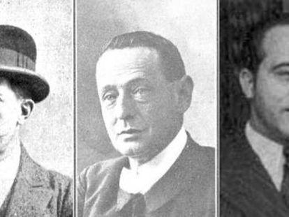 De izquierda a derecha: Alejandro Sawa, Antonio Palomer, Luis Bonafoux, Joaquín Dicenta, Pedro Barrantes.
