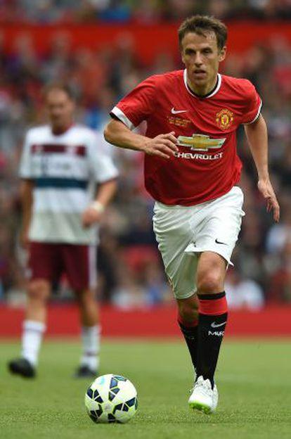 Phil Neville, en un partido amistoso con el Manchester United.