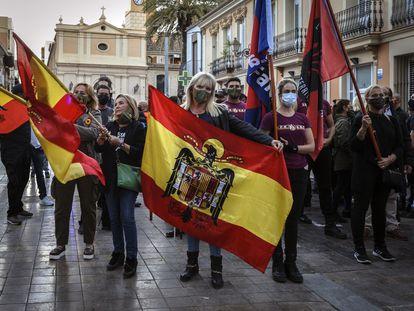 Marcha convocada por España 200 el 12 de octubre pasado en el barrio de Benimaclet de Valencia.