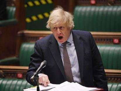 El primer ministro del Reino Unido, Boris Johnson, en la Cámara de los Comunes, en Londres, el pasado 3 de marzo.