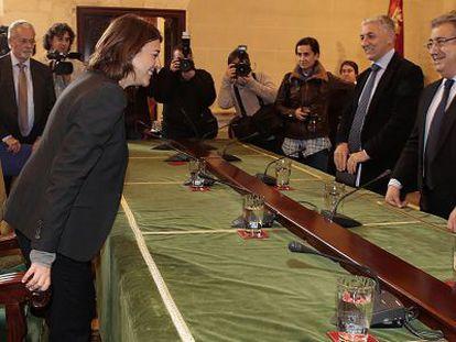 Elena Contreras y Juan Ignacio Zoido, este miércoles en el Ayuntamiento.