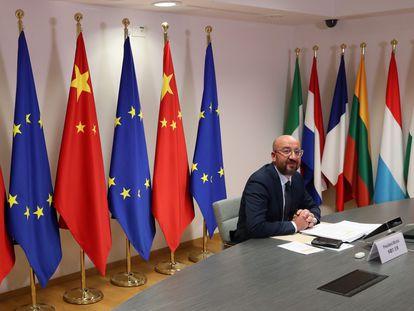 El presidente del Consejo Europeo, Charles Michel, al comienzo de su participación en la cumbre virtual UE-China.