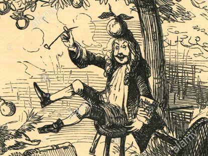 Caricatura de la revista satírica 'Punch' sobre el episodio de la manzana de Newton.