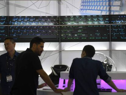 Un teclado gigante durante Computex 2018, celebrada esta semana en Taipei.