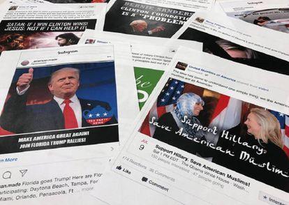Algunos de los anuncios utilizados en Facebook e Instagram durante las elecciones en EEUU de 2016. / JON ELSWICK (AP)
