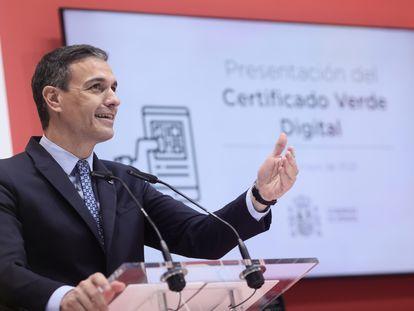 Pedro Sánchez, durante la presentación del certificado verde digital en la feria Fitur en Madrid, este viernes.