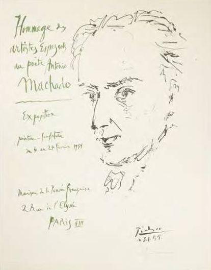 Cartel de Pablo Picasso 'Hommage des artistes espagnols à Antonio Machado' (París Maison de la Pensée Française, 1955).