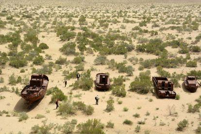 Zona del mar de Aral en el distrito Mo'ynoq, Uzbekistan, en junio de 2018.
