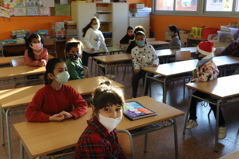 Clase del colegio El Vallés de Terrassa, este lunes, último día antes de las vacaciones de Navidad.