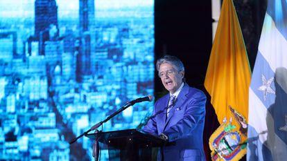 Guilelrmo Lasso, presidente de Ecuador, durante un evento en Guayaquil.