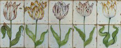 Panel de tulipanes holandes del siglo XVII.