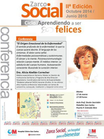 Cartel de la conferencia de Alicia Abellán en el Hospital Clínico.