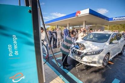 Estación de recarga para vehículos eléctricos de Repsol en Bizkaia.