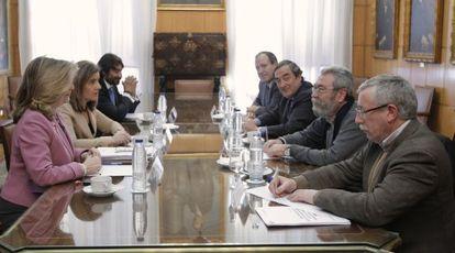 Reunión de los responsables de Empleo con los agentes sociales el pasado 13 de febrero.