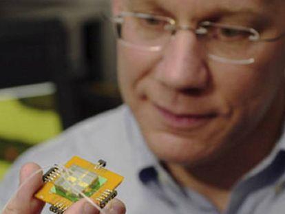 Charles Lieber, en una imagen de la Universidad de Harvard en la que sostiene un chip con microsensores.