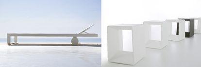 Tumbona de la serie Flat diseñada por Mario Ruiz y realizada en perfilaría de aluminio y taburete de la colección de asientos Air, creada por Héctor Serrano y fabricada en polietileno y acero inoxidable termolacado.
