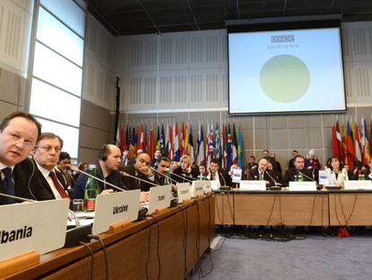 El embajador ucranio en la OSCE, Ihor Prokopchuk, en la reunión de emergencia en Viena el lunes.