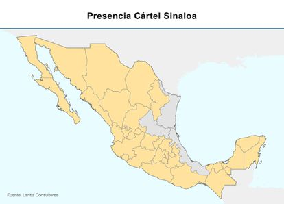 Los Estados marcados en amarillo muestran el avance de los de Sinaloa.