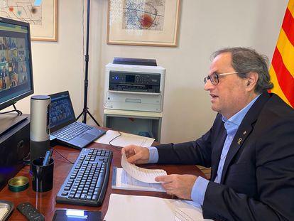 Quim Torra durante la reunión que el presidente del Gobierno, Pedro Sánchez, ha mantenido con el resto de presidentes autonómicos este domingo.