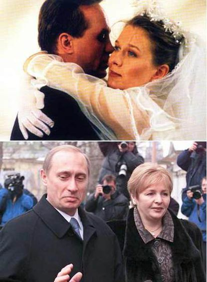 Abajo, Putin y su esposa Ludmila; arriba, los actores que los interpretan.