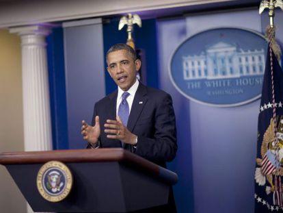 El presidente Obama, durante su rueda de prensa del viernes.