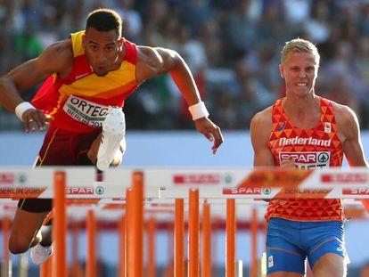 Orlando Ortega en las semifinales de los 110 metros vallas.