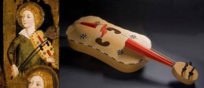 Tabla de Jaume Serra, del Museo de Bellas Artes de Zaragoza, y vihuela de arco construida siguiendo el modelo pintado.