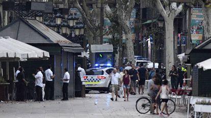 Lugar del atentado en Las Ramblas de Barcelona.