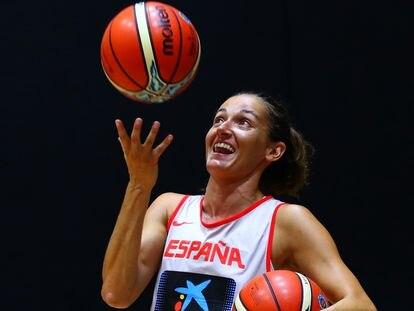 Laia Palau, en un entrenamiento con la selección. FEB