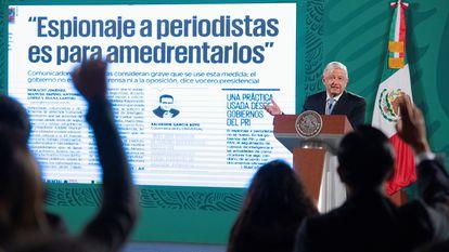 Andrés Manuel López Obrador, durante una rueda de prensa en junio de 2021, en el Palacio Nacional de la Ciudad de México.