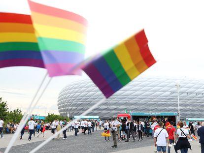 El estadio del Allianz Arena no se iluminó con la bandera LGTBIQ+ por prohibición de la UEFA.