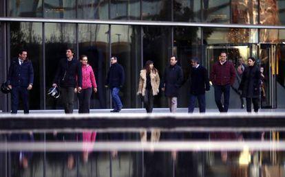 Final de la jornada laboral el martes 23 de diciembre en la sede de la empresa en Madrid.