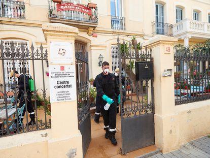 Desinfección en una residencia de Pineda de Mar.