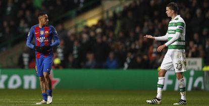 Neymar y Lustig, en el partido en Celtic Park.