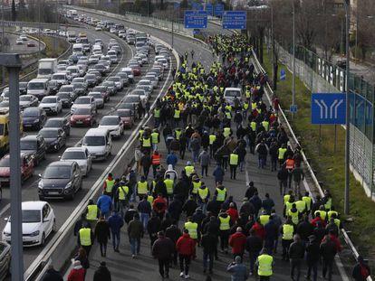 Huelga de taxistas en Madrid, el pasado martes.